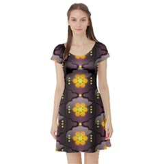 Pattern Background Yellow Bright Short Sleeve Skater Dress