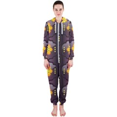 Pattern Background Yellow Bright Hooded Jumpsuit (Ladies)