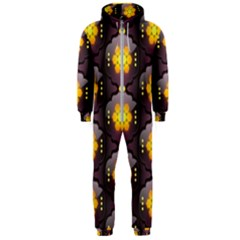 Pattern Background Yellow Bright Hooded Jumpsuit (Men)