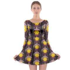 Pattern Background Yellow Bright Long Sleeve Skater Dress
