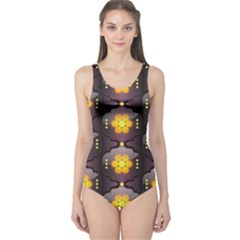 Pattern Background Yellow Bright One Piece Swimsuit