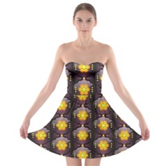 Pattern Background Yellow Bright Strapless Bra Top Dress