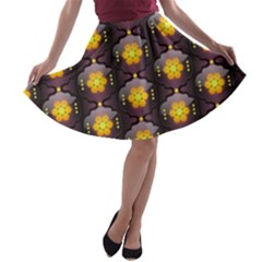 Pattern Background Yellow Bright A-line Skater Skirt