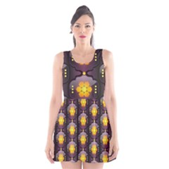 Pattern Background Yellow Bright Scoop Neck Skater Dress
