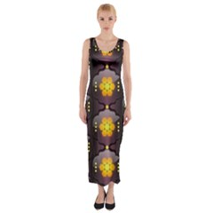 Pattern Background Yellow Bright Fitted Maxi Dress