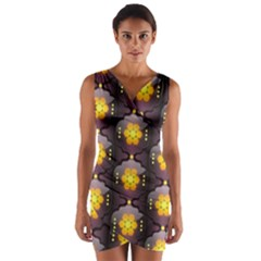 Pattern Background Yellow Bright Wrap Front Bodycon Dress