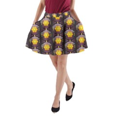 Pattern Background Yellow Bright A-Line Pocket Skirt