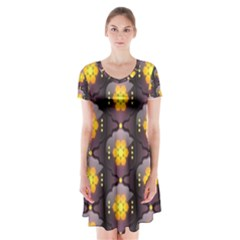 Pattern Background Yellow Bright Short Sleeve V-neck Flare Dress