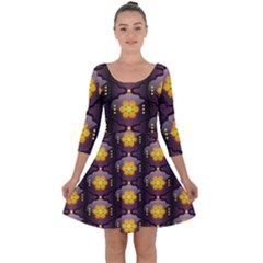 Pattern Background Yellow Bright Quarter Sleeve Skater Dress