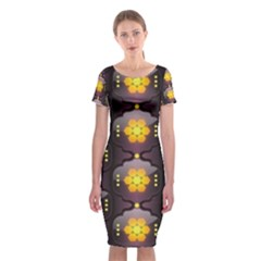 Pattern Background Yellow Bright Classic Short Sleeve Midi Dress