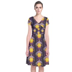 Pattern Background Yellow Bright Short Sleeve Front Wrap Dress