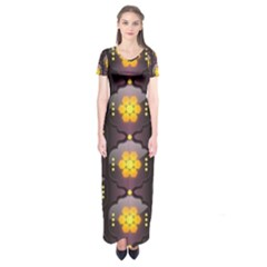 Pattern Background Yellow Bright Short Sleeve Maxi Dress