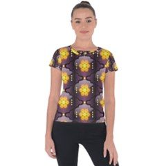 Pattern Background Yellow Bright Short Sleeve Sports Top