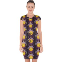 Pattern Background Yellow Bright Capsleeve Drawstring Dress
