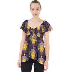 Pattern Background Yellow Bright Lace Front Dolly Top