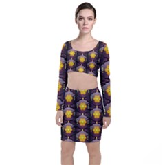 Pattern Background Yellow Bright Long Sleeve Crop Top & Bodycon Skirt Set