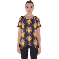 Pattern Background Yellow Bright Cut Out Side Drop Tee