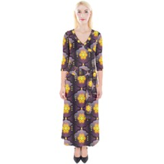 Pattern Background Yellow Bright Quarter Sleeve Wrap Maxi Dress