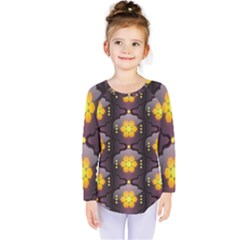 Pattern Background Yellow Bright Kids  Long Sleeve Tee