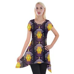 Pattern Background Yellow Bright Short Sleeve Side Drop Tunic