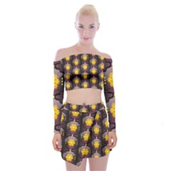 Pattern Background Yellow Bright Off Shoulder Top with Mini Skirt Set