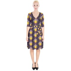 Pattern Background Yellow Bright Wrap Up Cocktail Dress