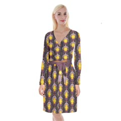Pattern Background Yellow Bright Long Sleeve Velvet Front Wrap Dress