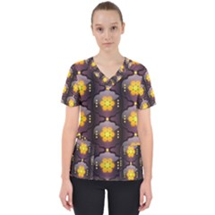 Pattern Background Yellow Bright Scrub Top