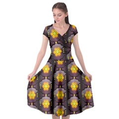 Pattern Background Yellow Bright Cap Sleeve Wrap Front Dress