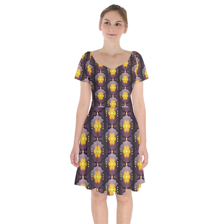 Pattern Background Yellow Bright Short Sleeve Bardot Dress