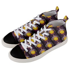 Pattern Background Yellow Bright Men s Mid-Top Canvas Sneakers
