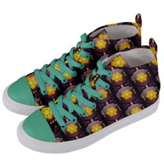 Pattern Background Yellow Bright Women s Mid-Top Canvas Sneakers