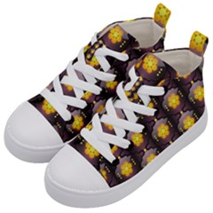 Pattern Background Yellow Bright Kid s Mid-Top Canvas Sneakers