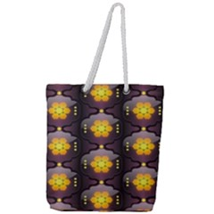 Pattern Background Yellow Bright Full Print Rope Handle Tote (Large)