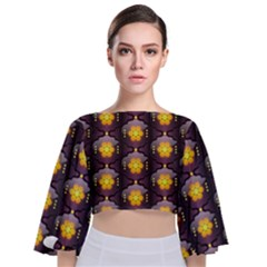 Pattern Background Yellow Bright Tie Back Butterfly Sleeve Chiffon Top