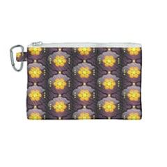 Pattern Background Yellow Bright Canvas Cosmetic Bag (Medium)
