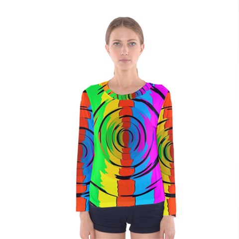 Pattern Colorful Glass Distortion Women s Long Sleeve Tee by Sapixe