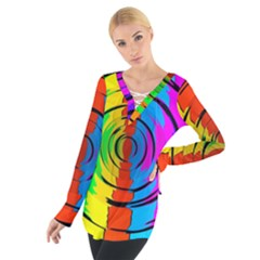 Pattern Colorful Glass Distortion Tie Up Tee by Sapixe