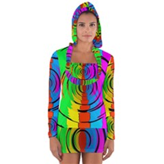 Pattern Colorful Glass Distortion Long Sleeve Hooded T-shirt by Sapixe