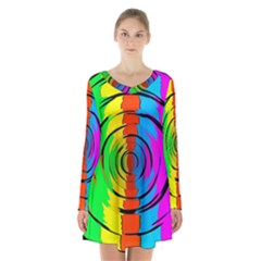 Pattern Colorful Glass Distortion Long Sleeve Velvet V-neck Dress by Sapixe