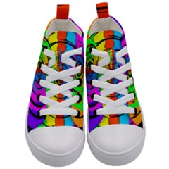 Pattern Colorful Glass Distortion Kid s Mid-top Canvas Sneakers