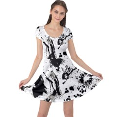 Pattern Color Painting Dab Black Cap Sleeve Dress