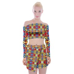 Artwork By Patrick Pattern 37 Off Shoulder Top With Mini Skirt Set