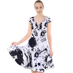Pattern Color Painting Dab Black Cap Sleeve Front Wrap Midi Dress