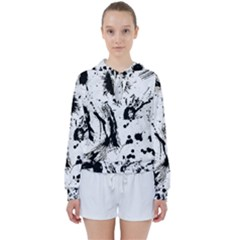 Pattern Color Painting Dab Black Women s Tie Up Sweat by Sapixe