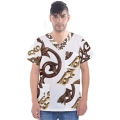 Pattern Motif Decor Men s V Neck Scrub Top