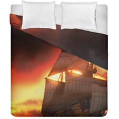 Pirate Ship Caribbean Duvet Cover Double Side (california King Size)