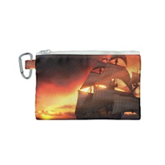 Pirate Ship Caribbean Canvas Cosmetic Bag (small)