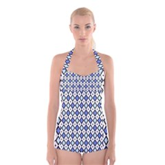 Blue Jess Boyleg Halter Swimsuit  by jumpercat
