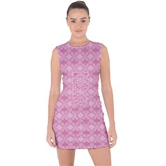 Pattern Pink Grid Pattern Lace Up Front Bodycon Dress
